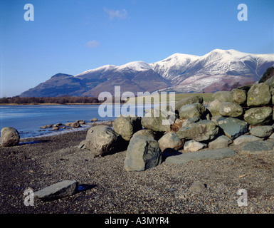 Skiddaw and frozen Derwent Water on a bright, winters day with clear blue sky. A dry stone wall tumbling down the - Stock Photo