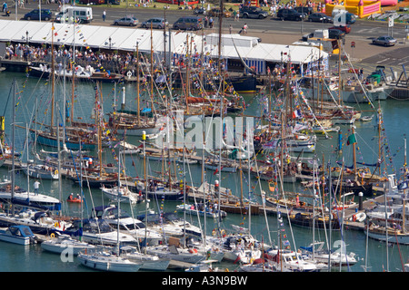 Aerial view of Old Gaffers Festival. Yarmouth harbour. Isle of Wight. UK. - Stock Photo