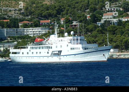 The Small Cruise Ship Monet Anchored off Hvar Town Croatia - Stock Photo