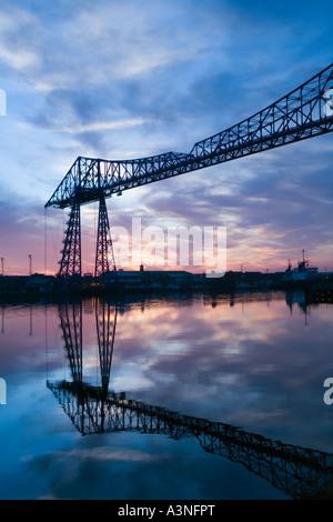 The Tees Transporter Bridge at sunset, The Middlesbrough Transporter Bridge is the furthest downstream bridge across - Stock Photo