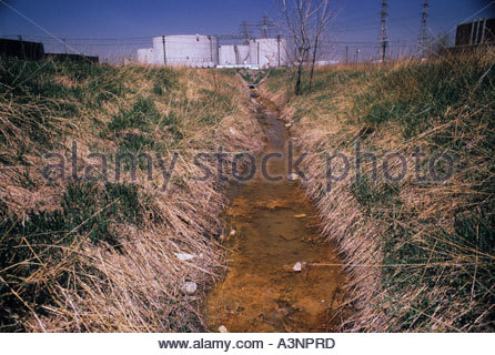 Ditch containing industrial waste in Toronto Ontario Canada - Stock Photo