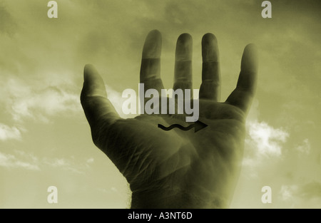 Hand with directional arrow and clouds in collage - Stock Photo
