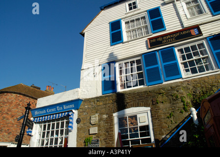 The Old Borough Arms Hotel and Mermaid Corner Tea Rooms in The Strand Rye Sussex - Stock Photo