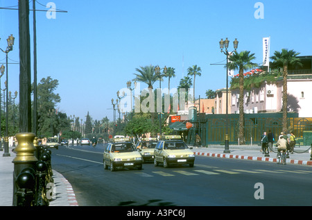 A busy modern main road in Marrakesh Morocco - Stock Photo