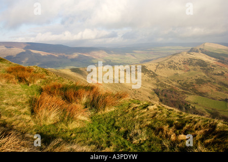 View from Mam Tor looking along the Great Ridge towards Hollins cross and Back Tor in the Peak district National - Stock Photo