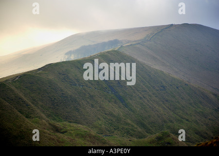View of Rushup Edge From Mam Tor in the Peak District near Castleton in Derbyshire - Stock Photo