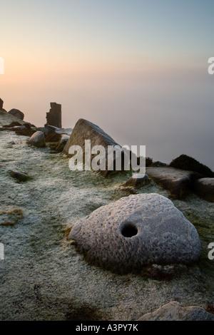 Mist & frost Curbar Edge, Peak District National Park, Derbyshire, UK, Europe - Stock Photo