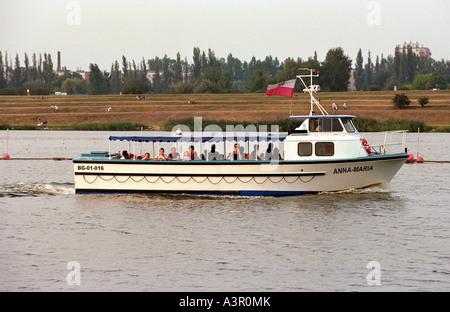 An excursion ship on the Matla Lake in Poznan, Poland - Stock Photo