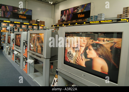 Widescreen Television display in Comet store music video onscreen - Stock Photo