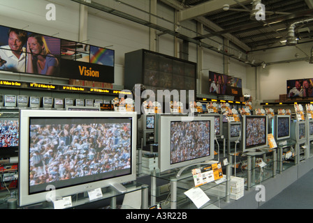 Widescreen Television display in Comet store football onscreen - Stock Photo