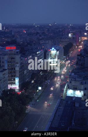 Aerial view of the Bratianu Boulevard (Bulevardul Bratianu) in Bucharest, Romania - Stock Photo