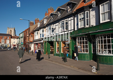 Shopping in the Market Town of Beverley, East Yorkshire, UK - Stock Photo