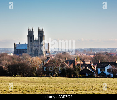 Beverley Minster in East Yorkshire, England, UK from Westwood Pastures - Stock Photo