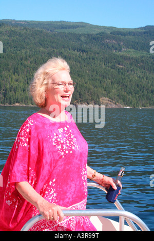 having a fun retirement on a cruise boat - Stock Photo