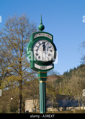 RAILWAY TRAIN STATION CLOCK 2003 just after mid day against blue sky Betws-y-Coed Conwy North Wales UK - Stock Photo