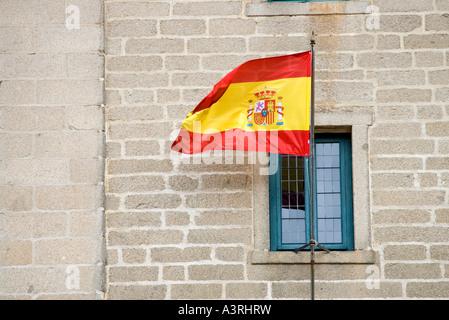 Spanish flag, El Escorial, Spain - Stock Photo