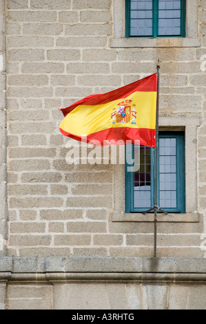Spanish flag, El Escorial, Spain - Stock Photo