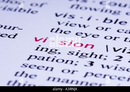 The Definition For Word VISION Is Highlighted In A Dictionary. The  Dictionary Is Fictitious,