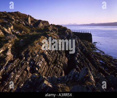 Jura viewed from the old steamer pier on the Craignish Peninsula - Stock Photo