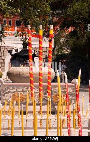 Stock photograph of incense burning at Po Lin Monastery on Lantau Island in Hong Kong 2006 - Stock Photo