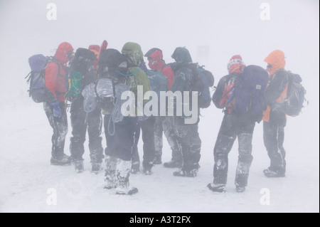 mountaineer's walking through extreme blizzard conditions in the Cairngorm mountains, Scotland, UK in heavy snow - Stock Photo