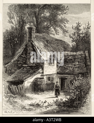 cottage Rural farm country countryside thatch straw house home remote quiet path wood tree - Stock Photo