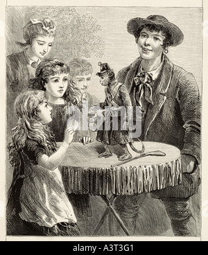 dancing monkey Pet table dance theatre man woman child act perform stage scene comedy amusement hat shawl  performance - Stock Photo