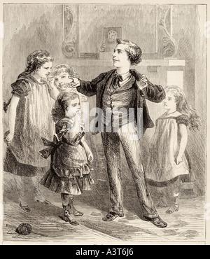 Children boy girl teach learn educate listen stand parlour room indoor speak hear jacket trouser skirt dress waistcoat - Stock Photo
