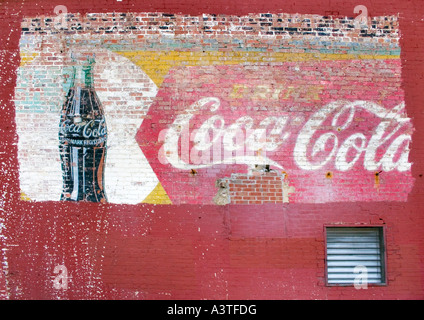 Old Coca Cola advertisement painted on a brick wall in Staunton Virginia - Stock Photo