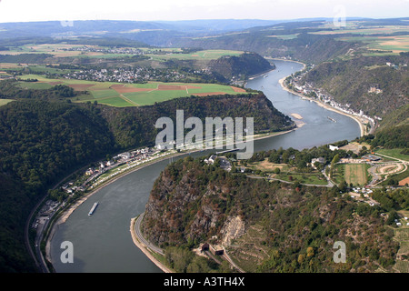 The Loreley (also written as Lorelei) is a rock on the eastern bank of the Rhine near St. Goarshausen, which soars - Stock Photo