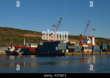 Canada Newfoundland St John s harbour container ship port - Stock Photo