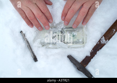 Hands finding money in frozen earth cold cash - Stock Photo