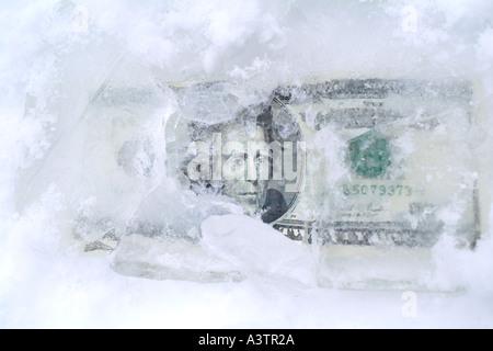 Twenty Dollar Bill US Dollars in Ice Frozen Assets - Stock Photo