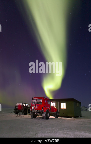 Jeep, Aurora Borealis, Northern Lights, Iceland - Stock Photo