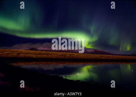 Aurora Borealis, Northern Lights, Iceland, Mt Esja, Iceland - Stock Photo