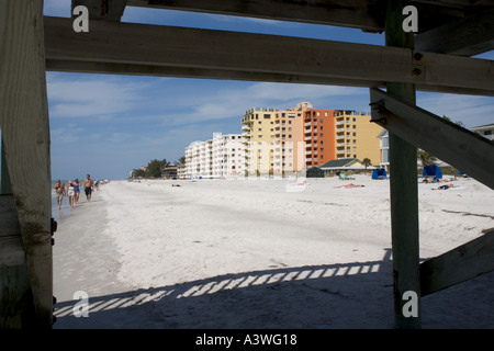 Florida beach and condominiums. Indian Shores, Tampa Bay Beaches, Florida USA - Stock Photo