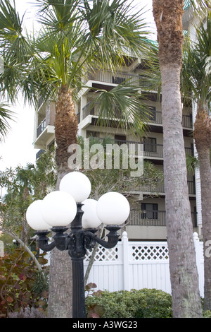 Condominiums and palm trees lining the Gulf Coast of Florida. Indian Shores Florida USA - Stock Photo