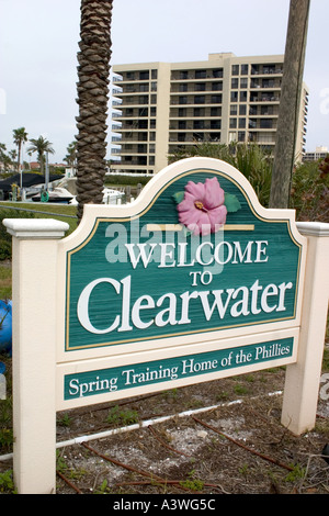 Sign welcoming visitors to Clearwater Beach Florida  Clearwater Beach Florida USA - Stock Photo
