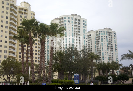 Imposing condominiums on the Gulf beach. Clearwater Beach Florida USA - Stock Photo