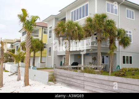 Homes located on Gulf beach. Clearwater Beach Florida USA - Stock Photo