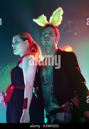 Jake Shears and Ana Matronic of the Scissor Sisters live on stage on Easter Sunday at Leeds Blank Canvas - Stock Photo
