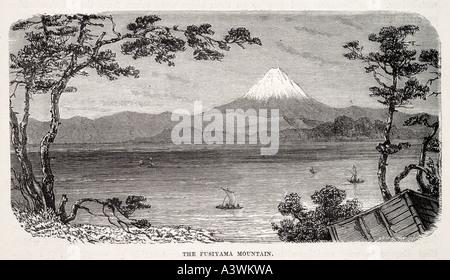 fujiyama Asia Honshu Japan mount mountain snow cap capped lake water travel valley orient oriental far east famous - Stock Photo