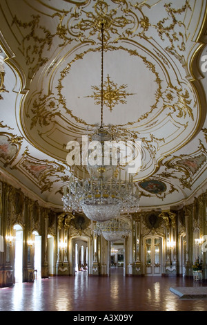 Throne room (Sala do Trono) in the Queluz Palace, Portugal. Formerly used as Summer residence by the Portuguese - Stock Photo
