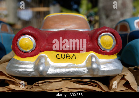 Clay models of classic Cuban American cars for sale in the village of Vinales in the Pinar del Rio province of Cuba - Stock Photo
