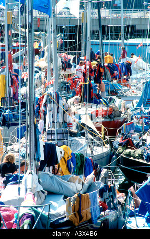 Yacht clothing and equipment dryingin Plymouth after the Admirals Cup Fastnet race Devon England - Stock Photo