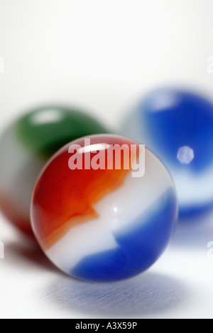 Macro of Red White and Blue Marble - Stock Photo
