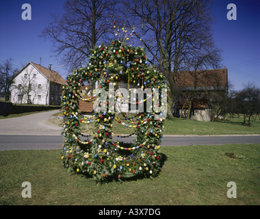 geography / travel, Germany, Bavaria, Franconian Switzerland, tradition / folklore, fountain decorated with coloured - Stock Photo
