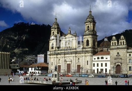 geography / travel, Colombia, Bogota, churches, the cathedral Primada de Bogota, exterior view, Plaza bolivar, main entrance, Andes, mountains, Santa Fe de Bogotá, South America, capital, town, towns,  Bacata, Candelaria, old town,