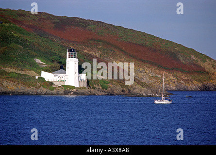 Lighthouse on 'St Anthonys Head' near St Mawes Cornwall England UK viewed from Falmouth - Stock Photo
