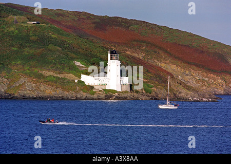 Lighthouse on St Anthonys Head near St Mawes Cornwall England UK viewed from Falmouth - Stock Photo